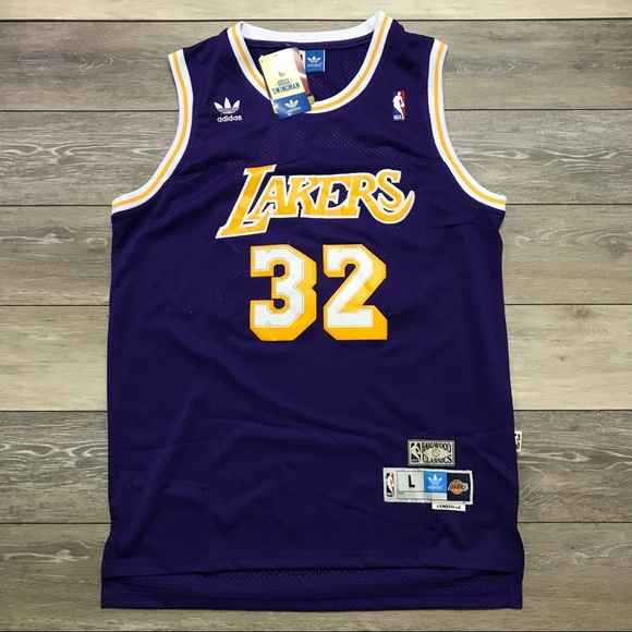 new arrival 1f545 bf9d7 Retro Magic Johnson Lakers Adidas Swingman Jersey NWT